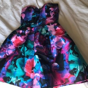 Colorful semi-formal strapless dress
